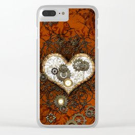 Steampunk, wonderful heart Clear iPhone Case