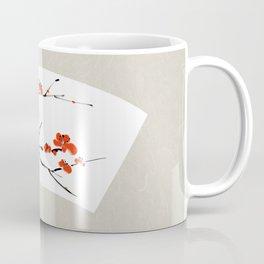Plum Blossom Chinese ink painting - black white red Coffee Mug