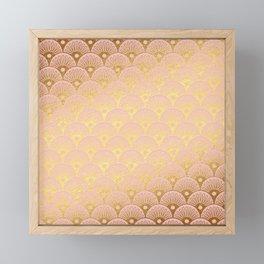 Gold and pink sparkling Mermaid pattern Framed Mini Art Print