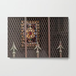 Mausoleum Stained Glass Metal Print