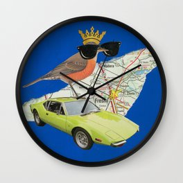 Robin Road Trip - Vintage Collage Wall Clock
