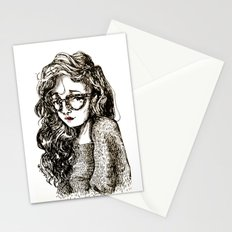 Girl with glasses Stationery Cards