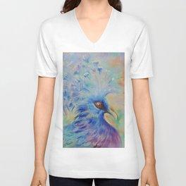 Blue Bird Fancy colorful bird Wildlife illustration Impressionistic painting of nature Unisex V-Neck