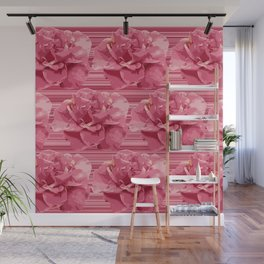 Modern Pop Art Flowers Floating on Stripes Pink and Red Roses Wall Mural
