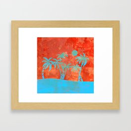 Tropical sunset with blue palm trees Framed Art Print