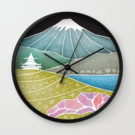 volcano, Japanese landscape Wall Clock