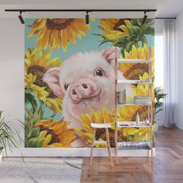 Baby Pig with Sunflowers in Blue Wall Mural