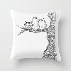 Three owls in a tree Throw Pillow