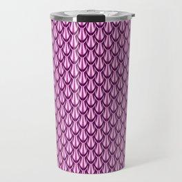 Gleaming Pink Metal Scalloped Scale Pattern Travel Mug