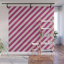Neon pink faux gold glitter modern stripes pattern Wall Mural