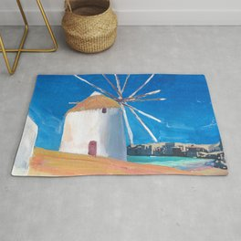 Mykonos Greece Windmill, Sea and Little Venice Rug