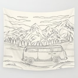 Mountain Road Linescape Wall Tapestry