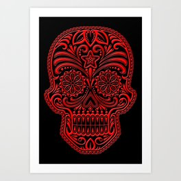 Intricate Red and Black Day of the Dead Sugar Skull Art Print