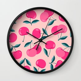Pink cherries art. Modern cute design. Summer berry poster, phone cover, stationery design. Wall Clock