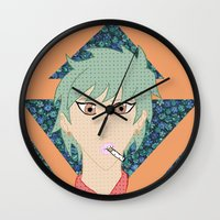 cigarettes Wall Clocks featuring Cigarettes and Flowers by lezlyeproductions