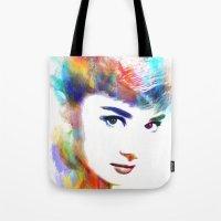 audrey hepburn Tote Bags featuring Audrey Hepburn by Michael Akers