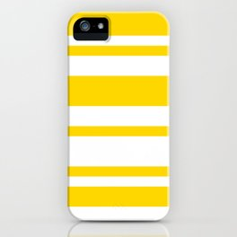 Mixed Horizontal Stripes - White and Gold Yellow iPhone Case