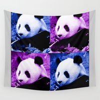 pandas Wall Tapestries featuring Pandas by SwanniePhotoArt