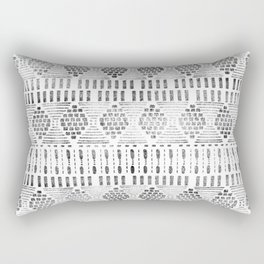 Aztec I Pattern Black and White Rectangular Pillow