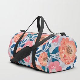 Pink, orange flowers on a light gray background. Duffle Bag