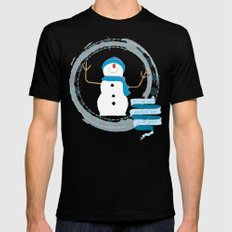 Christmas snowman MEDIUM Black Mens Fitted Tee