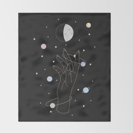 Spotlight - Moon Phase Illustration Throw Blanket