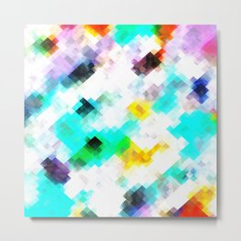 psychedelic geometric pixel abstract pattern in blue green yellow pink Metal Print