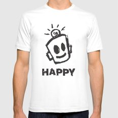 HAPPY  White Mens Fitted Tee SMALL