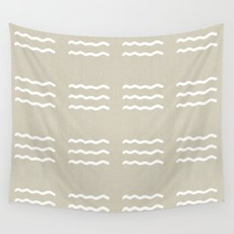 NEUTRAL LINEN . IVORY WAVES Wall Tapestry