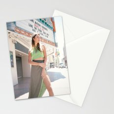 Model in Green Dress Stationery Cards