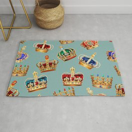 Beautiful golden crowns pattern Rug