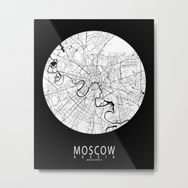 Moscow City Map of Russia - Full Moon Metal Print