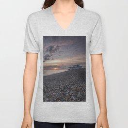 Hythe Beach at Sunset Unisex V-Neck