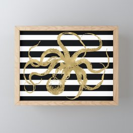 Gold Octopus on Black & White Stripes Framed Mini Art Print