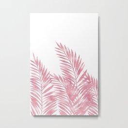 Palm Leaves Pink Metal Print