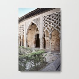 Patio Arches - Real Alcazar of Seville Metal Print