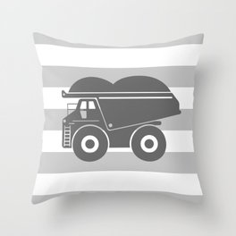 Gray Dump Truck Throw Pillow