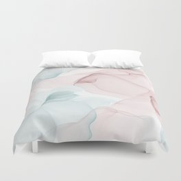 Blush and Blue Flowing Abstract Painting Duvet Cover