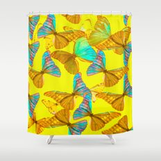 Butterflies - turquoise wings - yellow background #Society6 #buyart Shower Curtain