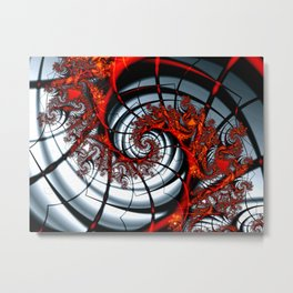 Fractal Art - Burning Web Metal Print
