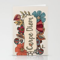 carpe diem Stationery Cards featuring Carpe Diem by Valentina Harper
