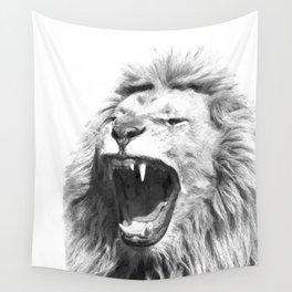 Black White Fierce Lion Wall Tapestry