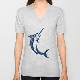 Blue Marlin Jumping Retro Unisex V-Neck