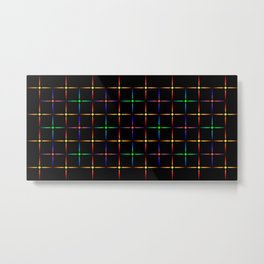 Neon diamonds. Pattern or background of multicolored neon stars on a black background Metal Print