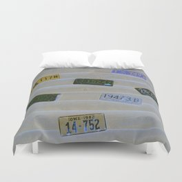 Old Neon Plates Duvet Cover