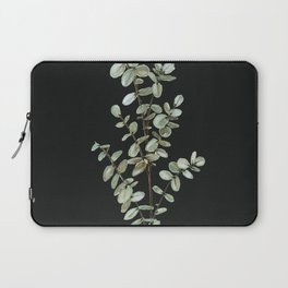 Baby Blue Eucalyptus Watercolor Painting on Charcoal Laptop Sleeve