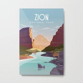 Zion national park  vintage travel poster Metal Print