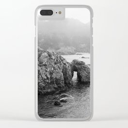 Ocean Arches - Black and White Landscape Photography Clear iPhone Case