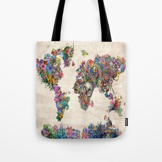 floral skull world map 2 Tote Bag