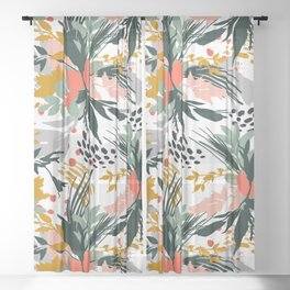 Botanical brush strokes I Sheer Curtain